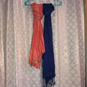 Coral and Royal blue Scarves